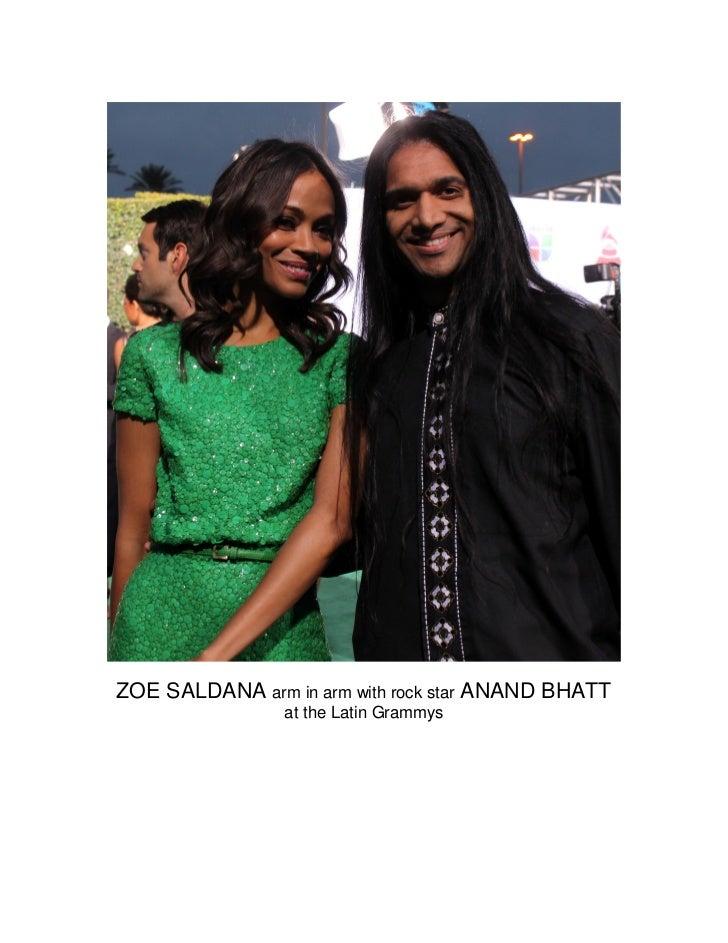 ZOE SALDANA arm in arm with rock star ANAND BHATT                at the Latin Grammys