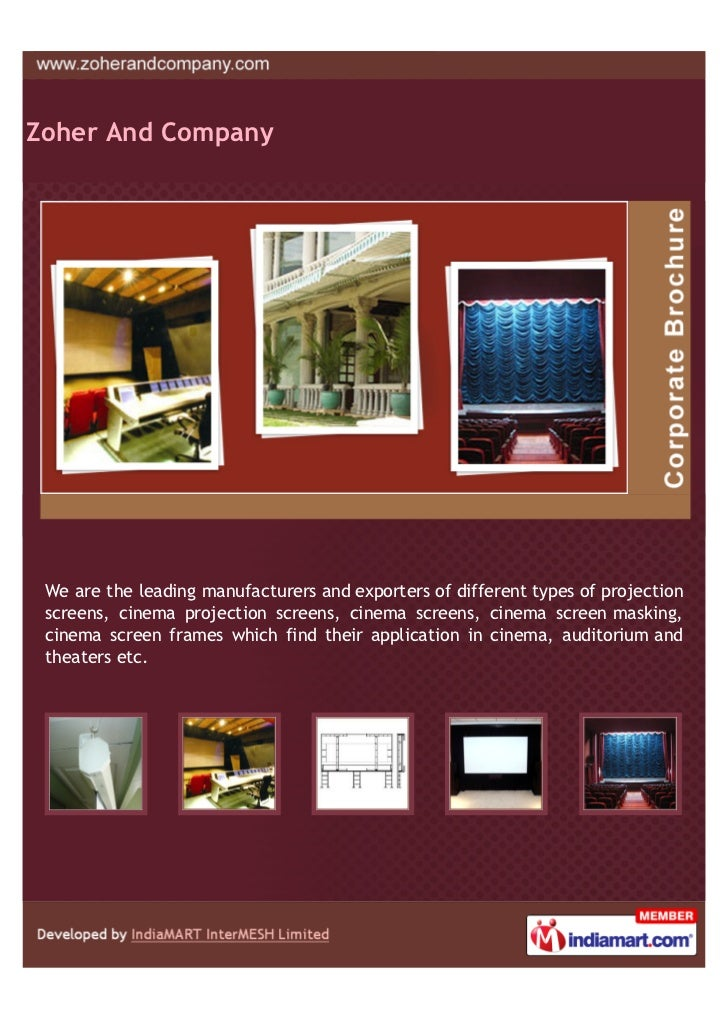 Zoher And Company We are the leading manufacturers and exporters of different types of projection screens, cinema projecti...