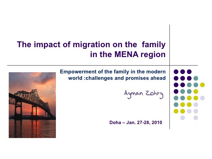 The impact of migration on the family in the MENA region Doha – Jan. 27-28, 2010 Empowerment of the family in the modern ...