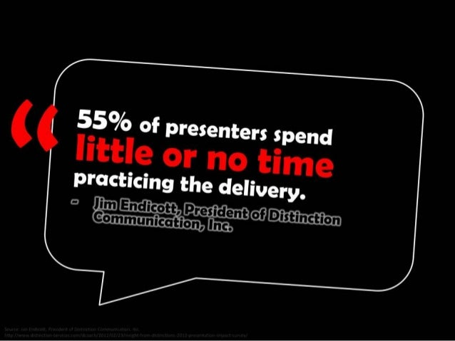 55% of presenters spend little or no time practicing the delivery. - Jim Endicott, President of Distinction Communication,...