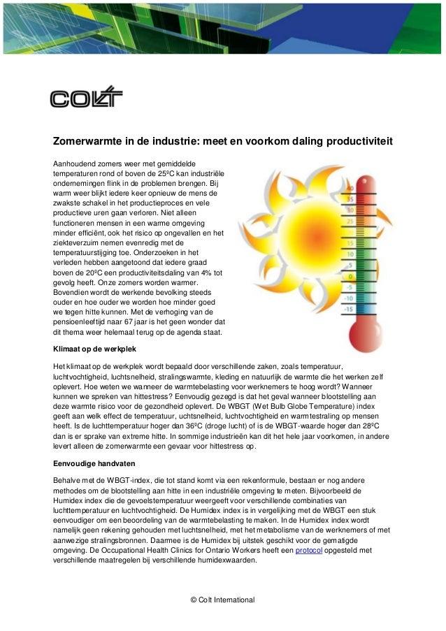 © Colt International Zomerwarmte in de industrie: meet en voorkom daling productiviteit Aanhoudend zomers weer met gemidde...