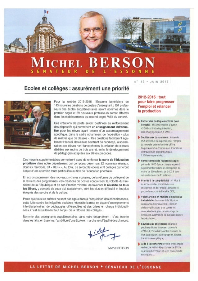Lettre du Sénateur Michel Berson - Juin 2015