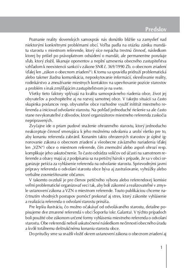 Predslov Poznanie reality slovenských samospráv nás donútilo bližšie sa zamyslieť nad niektorými konkrétnymi problémami ob...