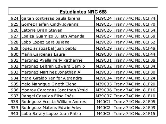 941 Contreras Castro, Orlando Antoni M40C4 Tranv 74C No. 81F21 942 Contreras Suarez, Johan Sebastián M40C5 Tranv 76 No. 81...