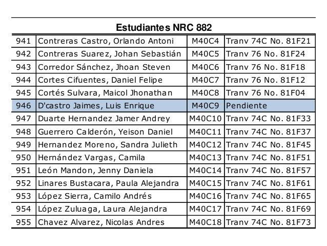 956 Barragan Aguilar Mariana M40C19 Tranv 74C No. 81F77 957 Muñoz Murillo Oscar Giovanny M40C20 Tranv 74C No. 81F81 958 de...