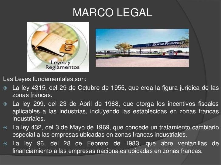 MARCO LEGALLas Leyes fundamentales,son: La ley 4315, del 29 de Octubre de 1955, que crea la figura jurídica de las   zona...
