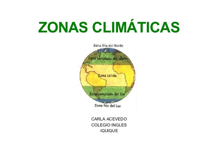 <ul><li>ZONAS CLIMÁTICAS </li></ul><ul><li>CARLA ACEVEDO </li></ul><ul><li>COLEGIO INGLES </li></ul><ul><li>IQUIQUE </li><...