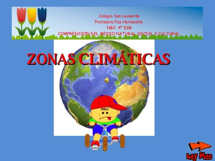 Colegio San Leonardo Profesora Paz Hermosilla  NB2- 4º EGB COMPRENSION DEL MEDIO NATURAL SOCIAL Y CULTURAL. . ZONAS CLIMÁT...