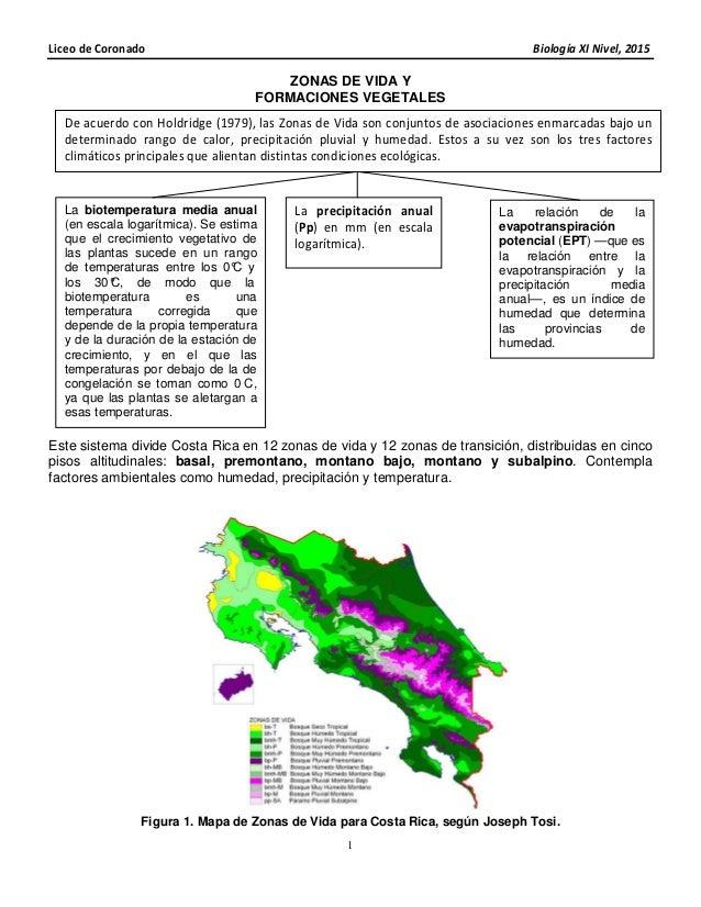 Liceo de Coronado Biología XI Nivel, 2015 1 ZONAS DE VIDA Y FORMACIONES VEGETALES Este sistema divide Costa Rica en 12 zon...