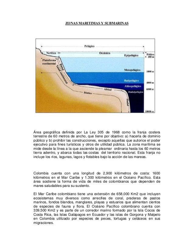 ZO AS MARITIMAS Y SUBMARI ASÁrea geográfica definida por La Ley 305 de 1968 como la franja costeraterrestre de 60 metros d...