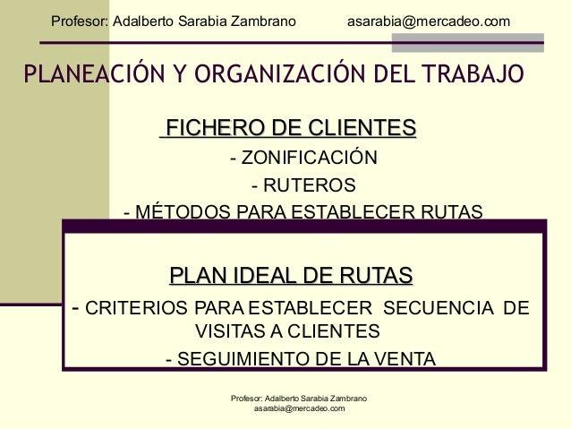 Profesor: Adalberto Sarabia Zambrano                    asarabia@mercadeo.comPLANEACIÓN Y ORGANIZACIÓN DEL TRABAJO        ...