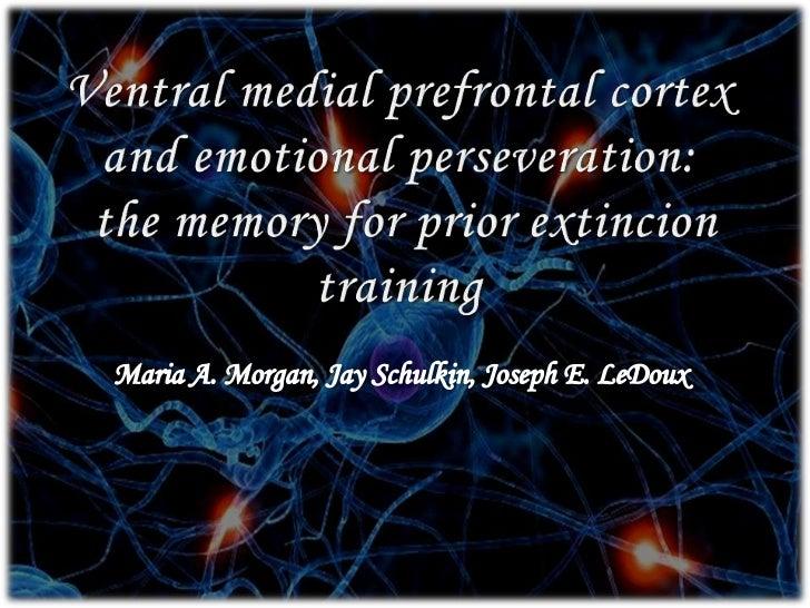 Ventral medial prefrontalcortex and emotionalperseveration:<br />thememoryfor prior extincion training<br />Maria A. Morga...