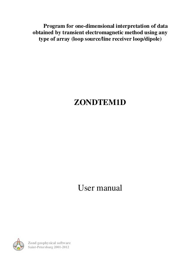 Zond geophysical softwareSaint-Petersburg 2001-2012Program for one-dimensional interpretation of dataobtained by transient...