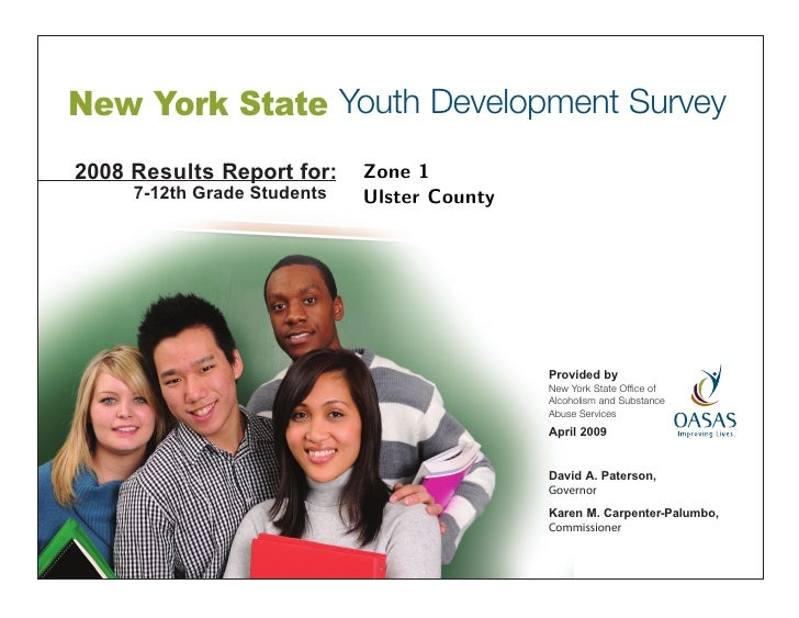 New York State Youth Development Survey 2008 Results Report for:     Zone 1      7-12th Grade Students   Ulster County    ...