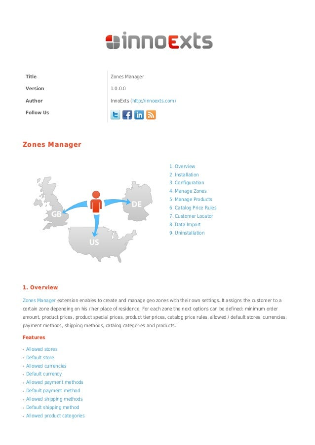 Title Zones ManagerVersion 1.0.0.0Author InnoExts (http://innoexts.com)Follow UsZones ManagerZones Manager1. Overview2. In...