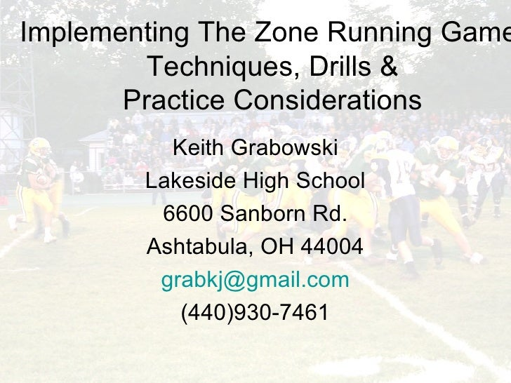 Implementing The Zone Running Game: Techniques, Drills & Practice Considerations Keith Grabowski Lakeside High School 6600...