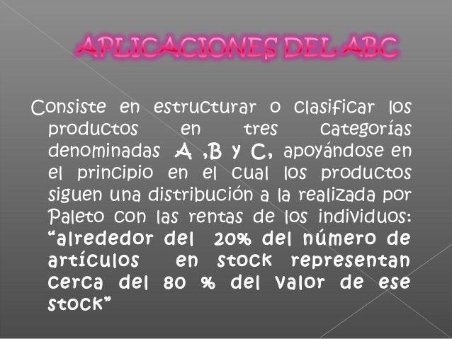 Cada una de estas categorías tiene sus propias características. La clasificación A, B y C de un grupo de productos se pued...
