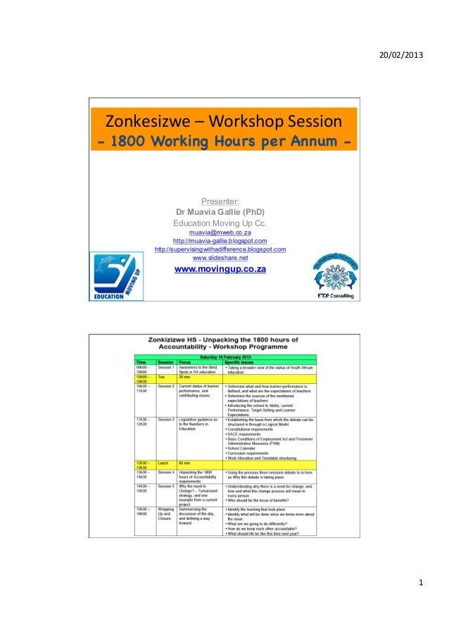 20/02/2013  Zonkesizwe – Workshop Session - 1800 Working Hours per Annum -                      Presenter:      ...