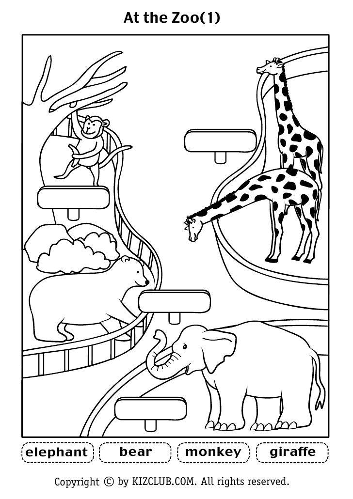 At the Zoo(1)                     bear         monkey           giraffe elephant     Copyright c by KIZCLUB.COM. All right...