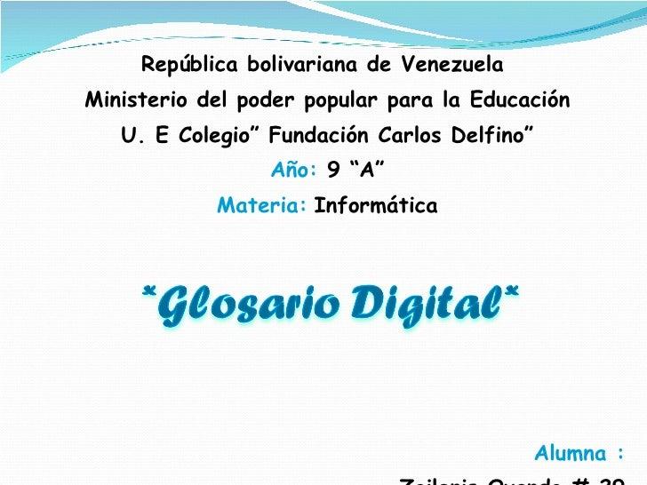 <ul><li>República bolivariana de Venezuela  </li></ul><ul><li>Ministerio del poder popular para la Educación </li></ul><ul...