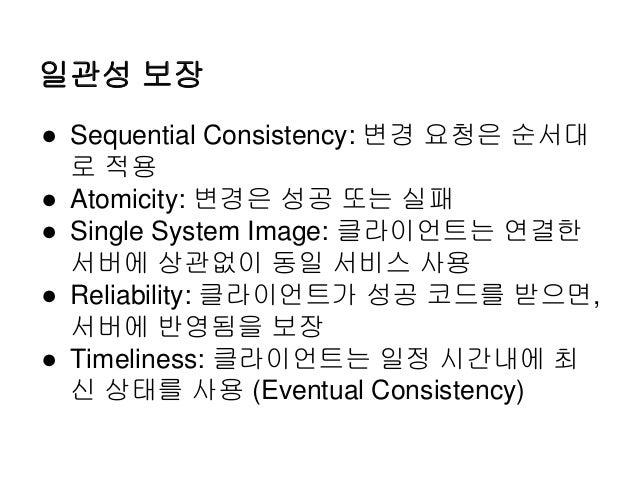 일관성 보장 ● Sequential Consistency: 변경 요청은 순서대 로 적용 ● Atomicity: 변경은 성공 또는 실패 ● Single System Image: 클라이언트는 연결한 서버에 상관없이 동일 서...