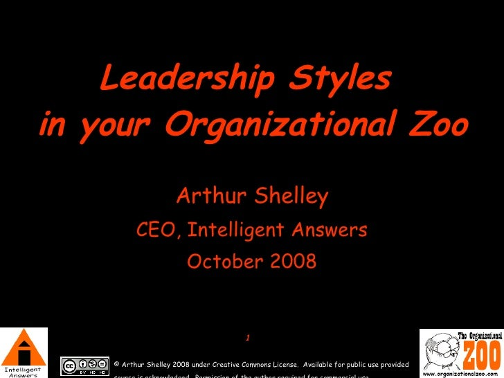 Leadership Styles  in your Organizational Zoo Arthur Shelley CEO, Intelligent Answers October 2008