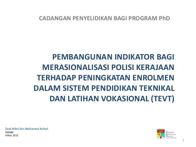 CADANGAN PENYELIDIKAN BAGI PROGRAM PhD                        PEMBANGUNAN INDIKATOR BAGI                     MERASIONALISA...