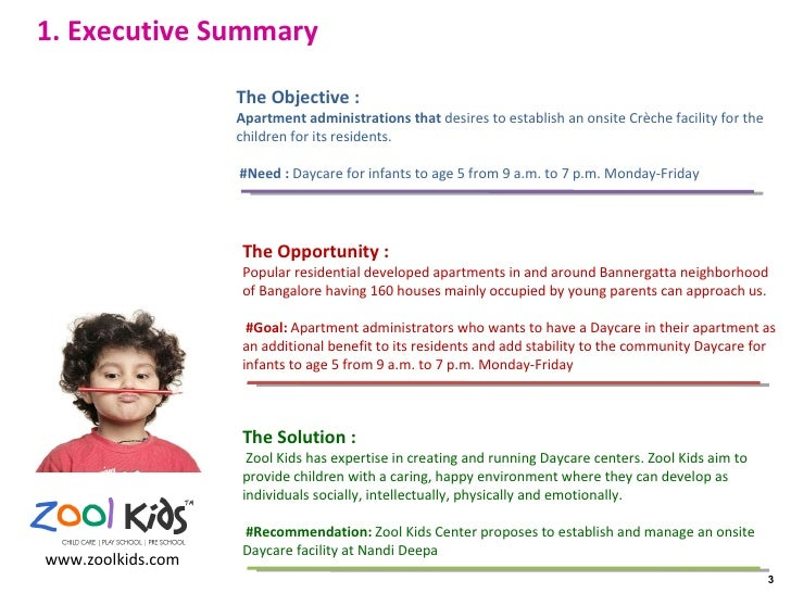 executive summary for daycare business plan