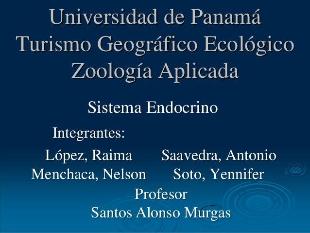 Universidad de Panamá Turismo Geográfico Ecológico Zoología Aplicada Integrantes: López, Raima Menchaca, Nelson Saavedra, ...