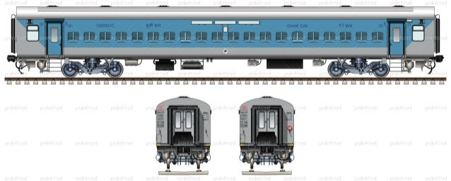 lhb non ac chair car in livery of indian western railway wr