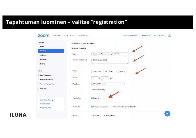 """Tapahtuman luominen – valitse """"registration"""""""