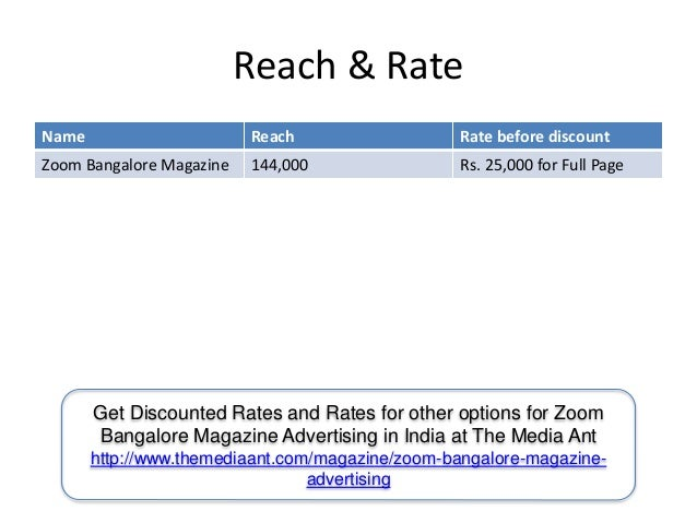 Reach & Rate Name Reach Rate before discount Zoom Bangalore Magazine 144,000 Rs. 25,000 for Full Page Get Discounted Rates...
