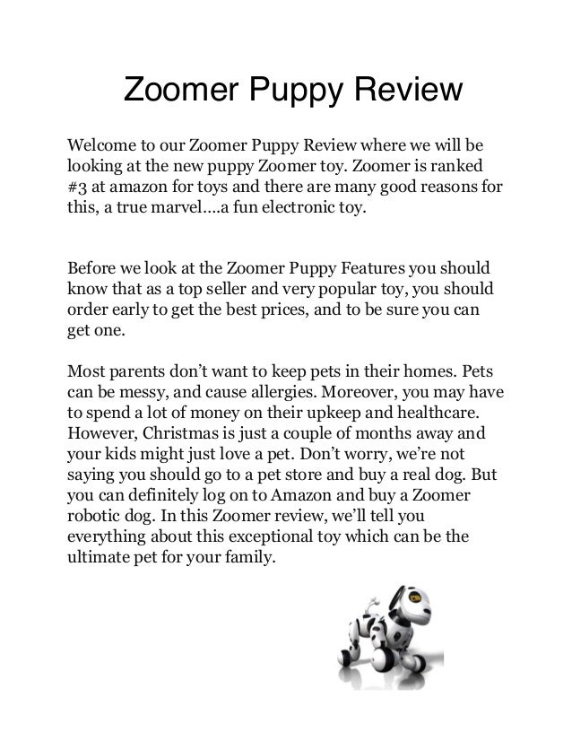 Zoomer Puppy Review Welcome to our Zoomer Puppy Review where we will be looking at the new puppy Zoomer toy. Zoomer is ran...