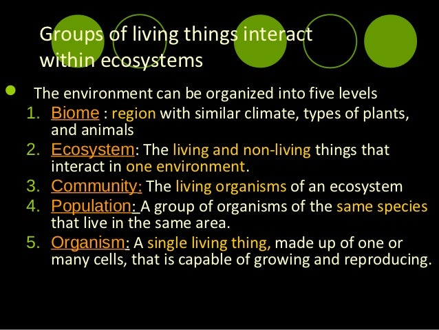 Interactions and Changes Within Ecosystems; 2. Groups of living things ...