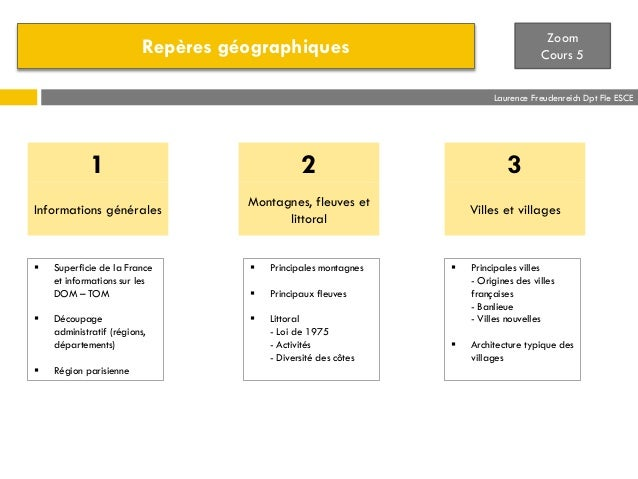Zoom Cours 5  Repères géographiques  Laurence Freudenreich Dpt Fle ESCE  1  2  3  Informations générales  Montagnes, fleuv...