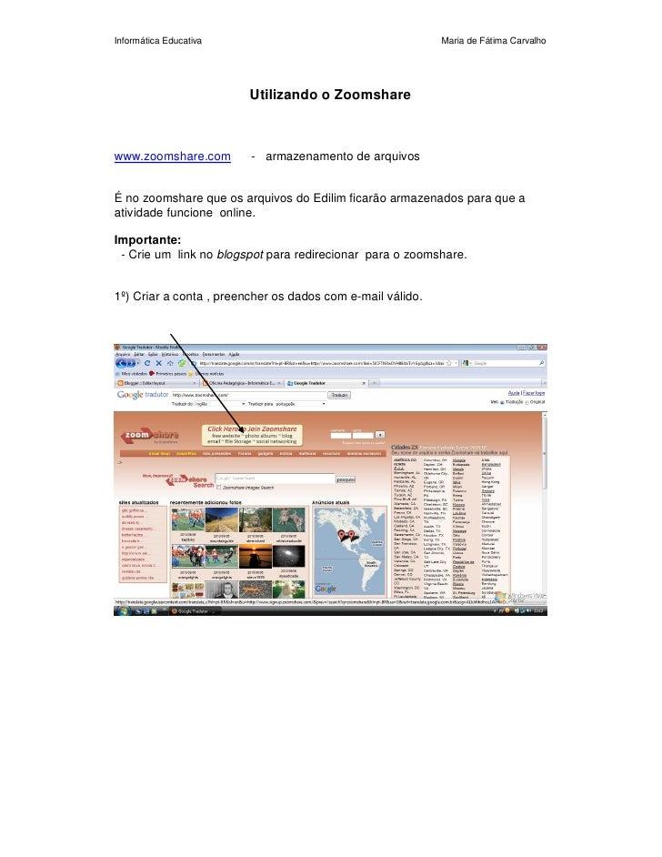 Informática Educativa                                       Maria de Fátima Carvalho                             Utilizand...