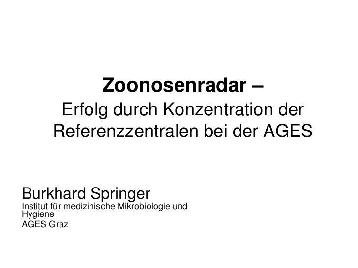 Zoonosenradar –         Erfolg durch Konzentration der        Referenzzentralen bei der AGESBurkhard SpringerInstitut für ...
