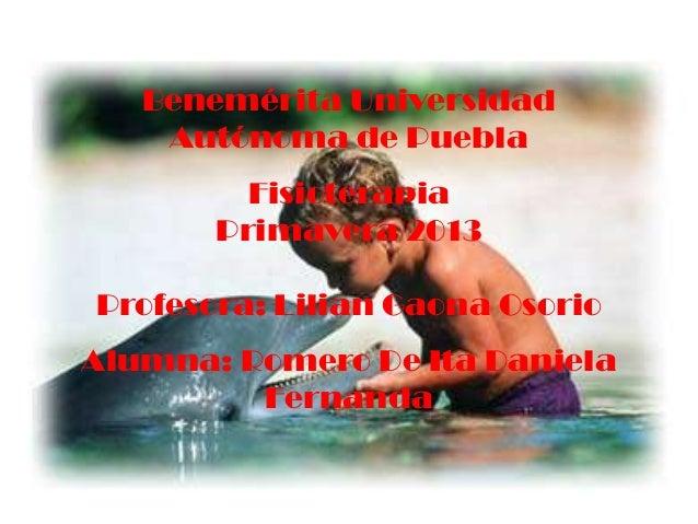 Benemérita UniversidadAutónoma de PueblaFisioterapiaPrimavera 2013Profesora: Lilian Gaona OsorioAlumna: Romero De Ita Dani...