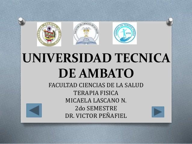 UNIVERSIDAD TECNICA DE AMBATO FACULTAD CIENCIAS DE LA SALUD TERAPIA FISICA MICAELA LASCANO N. 2do SEMESTRE DR. VICTOR PEÑA...
