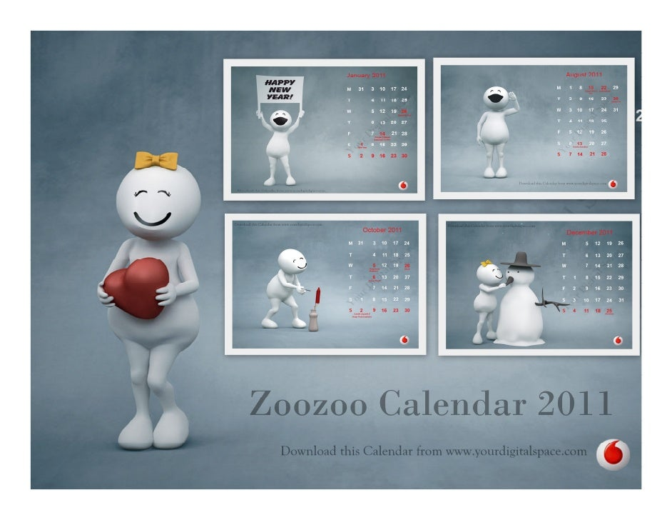 ZOO ZOO 2011 Monthly Calendar