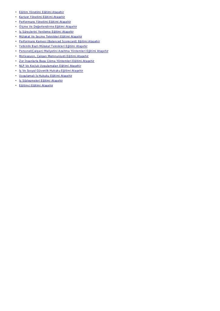 • Eğitim Yönetimi Eğitimi Ataşehir• Kariyer Yönetimi Eğitimi Ataşehir• Performans Yönetimi Eğitimi Ataşehir• Ölçme Ve Değe...