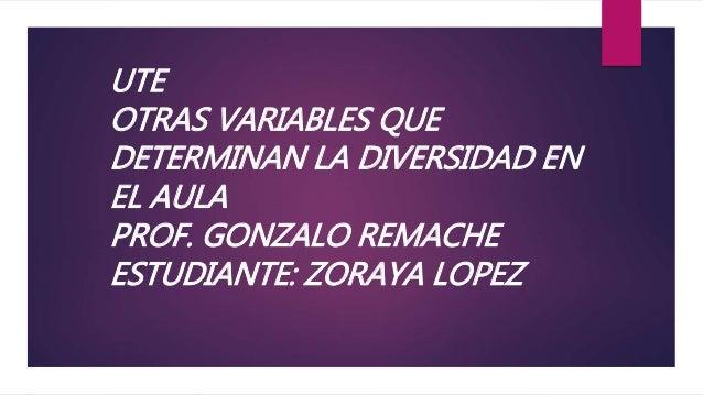UTE OTRAS VARIABLES QUE DETERMINAN LA DIVERSIDAD EN EL AULA PROF. GONZALO REMACHE ESTUDIANTE: ZORAYA LOPEZ