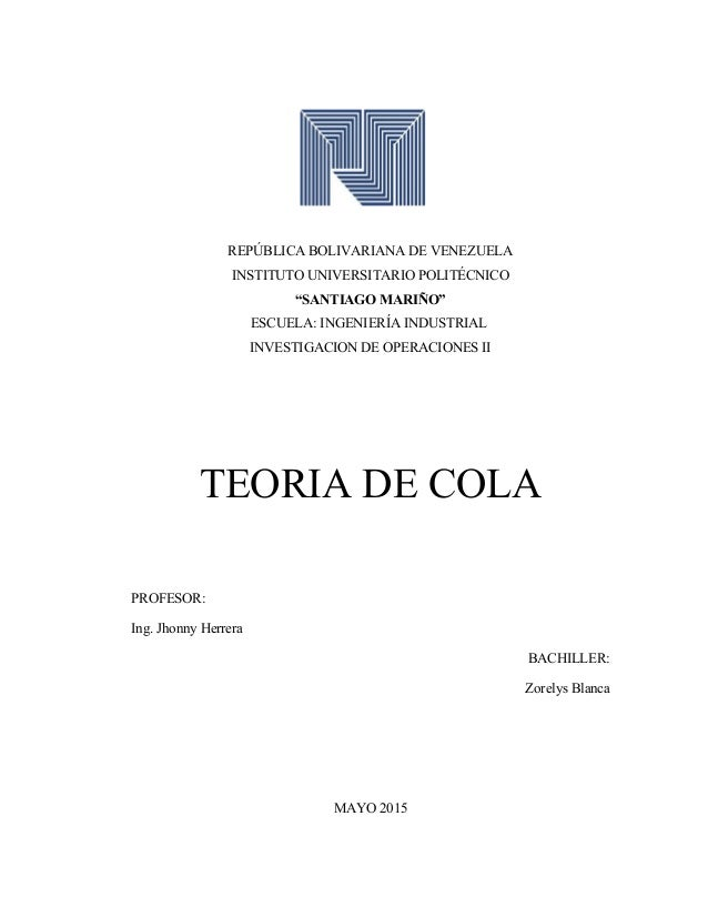 """REPÚBLICA BOLIVARIANA DE VENEZUELA INSTITUTO UNIVERSITARIO POLITÉCNICO """"SANTIAGO MARIÑO"""" ESCUELA: INGENIERÍA INDUSTRIAL IN..."""