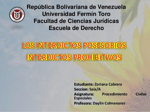 República Bolivariana de Venezuela Universidad Fermín Toro Facultad de Ciencias Jurídicas Escuela de Derecho Estudiante: Z...