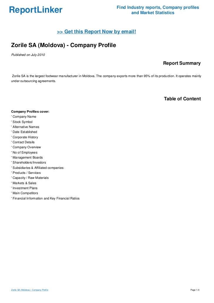 Zorile SA (Moldova) - Company Profile