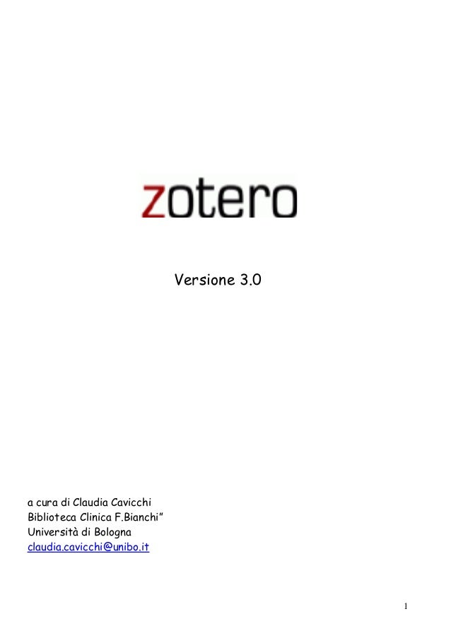 "1  Versione 3.0  a cura di Claudia Cavicchi  Biblioteca Clinica F.Bianchi""  Università di Bologna  claudia.cavicchi@unibo...."