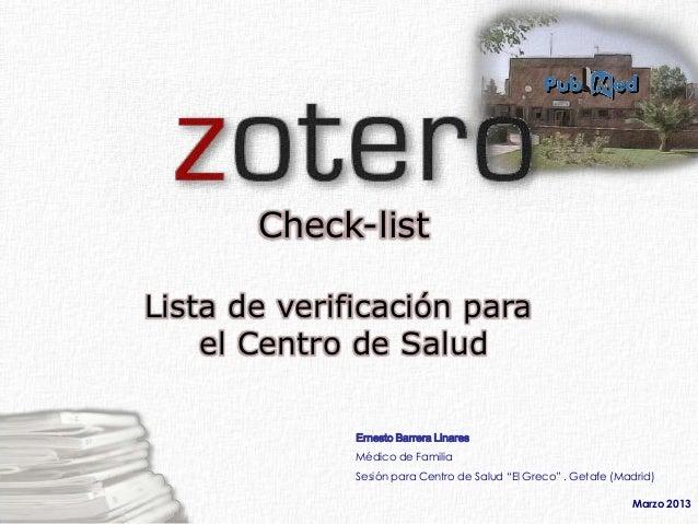 Check-listLista de verificación para    el Centro de Salud              Ernesto Barrera Linares              Médico de Fam...