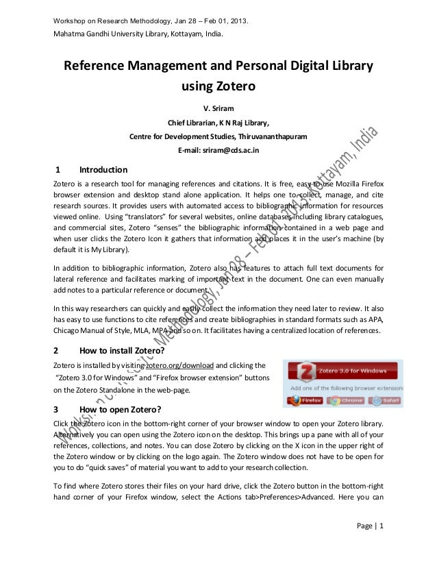 reference management and personal digital library using zotero