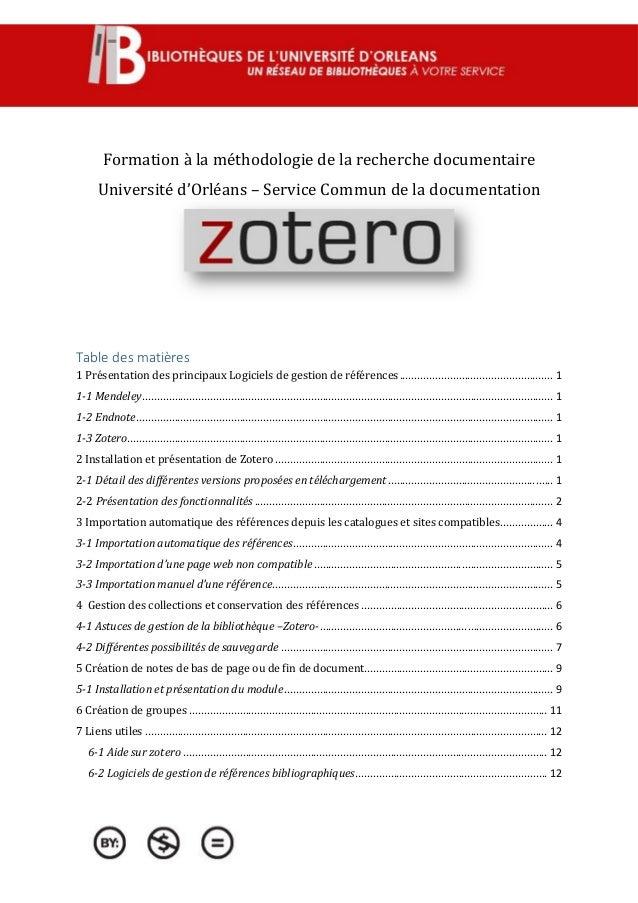 Formation à la méthodologie de la recherche documentaire Université d'Orléans – Service Commun de la documentation Table d...