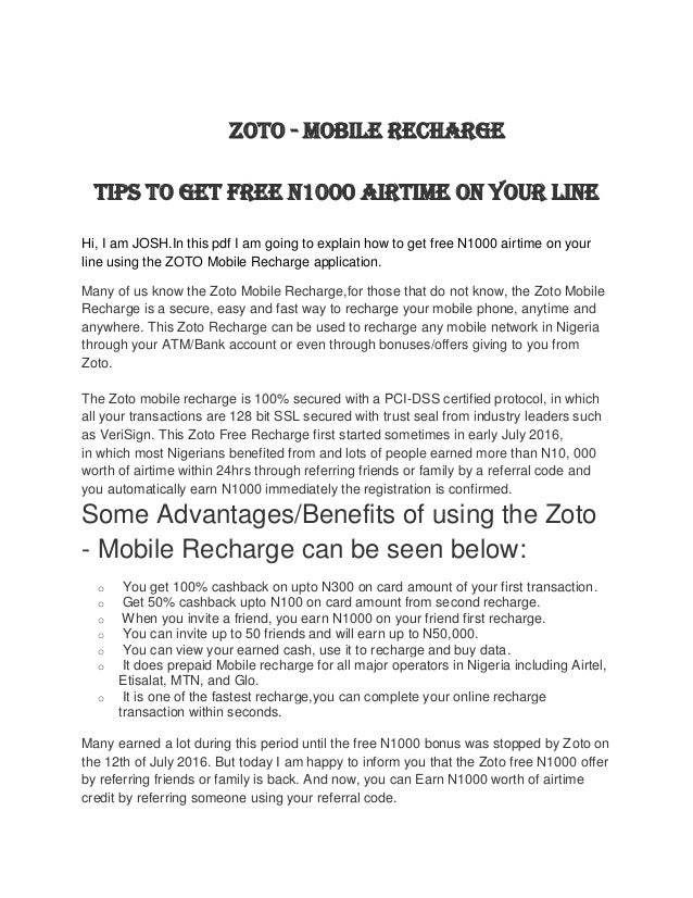 Zoto how to get free 1000 airtime on your phone